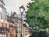 Parisian Street Scene Lithograph Signed by Denis Paul Noyer