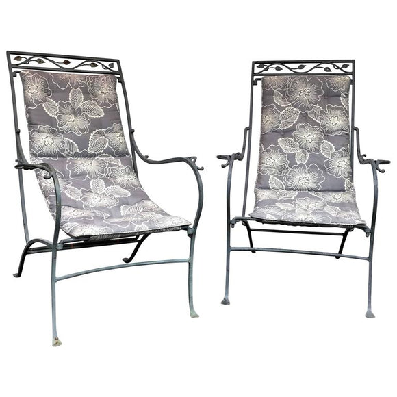 Patinated Metal Lounge Chairs in the Manner of Salterini