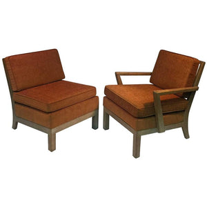 Phenomenal Modernist Pair of His/Hers Cerused Oak Armchairs