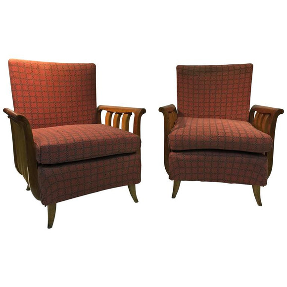 Phenomenal Pair of Italian Art Deco Chairs in the Manner of Paolo Buffa