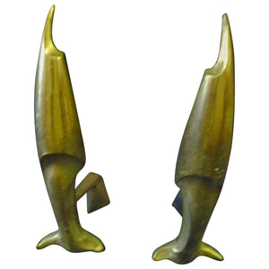 Pierre Emile LeGrain Art Deco Pair of Brass Fish Andirons