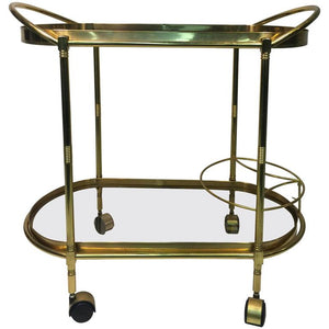 Sensational Oval Shaped Two-Tier Brass Italian Tea or Bar Cart