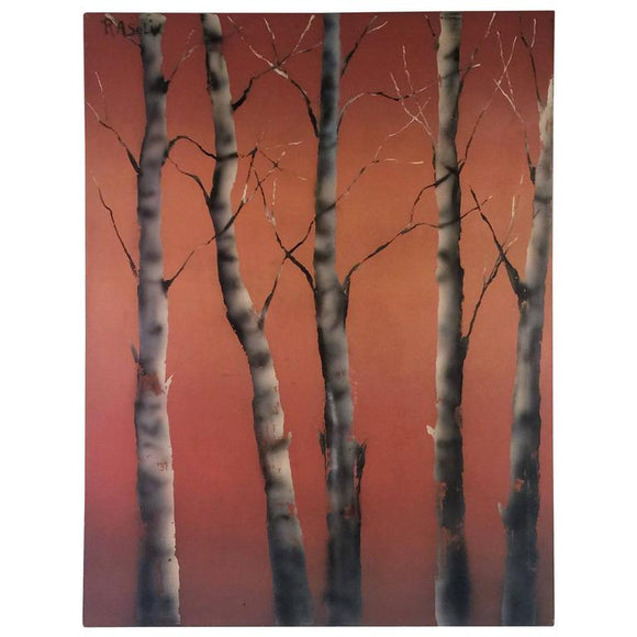 Signed Andy Warhol Style Modern Birch Tree Painting