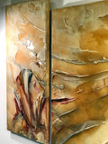 Signed Modernist Abstract Lacquer Design Triptych Paintings