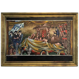 Signed Surrealist Painting of a Religious Jewish Scene with Rabbis and Torah