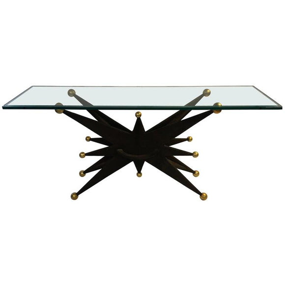 Spectacular Italian Brutalist Starburst and Gold Ball Resin Console Table