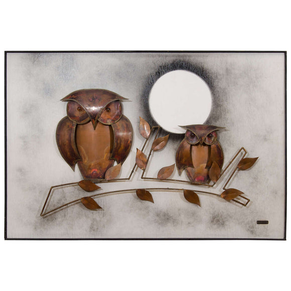 Spectacular Midcentury Signed, Oil on Board with Hand-Formed Copper Owls