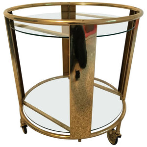 Striking Italian Modernist Design Round Polished Brass Bar Cart