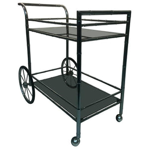 Striking Two-Tier Faux Bamboo Chrome Tea Cart