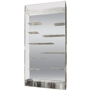 Stunning Les Prismatiques Free Floating Lucite Shelves and Mirror Wall Vitrine