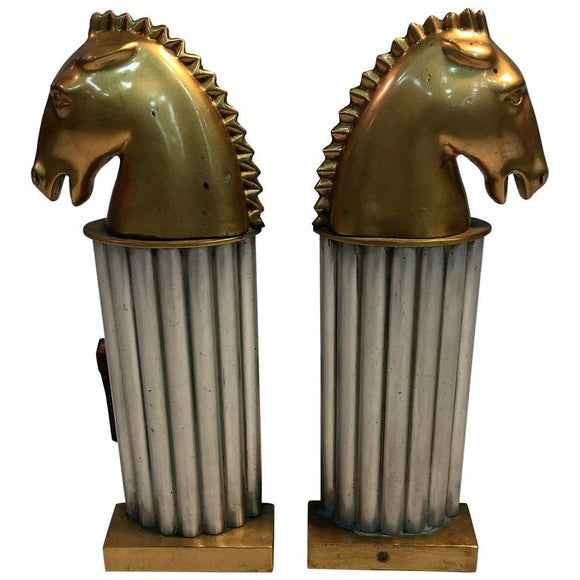 Stunning Pair of Art Deco Bronze Horse Head Knight Andirons