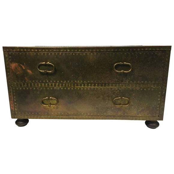 Stunning Sarreid Brass Studded Chest of Drawers or Trunk