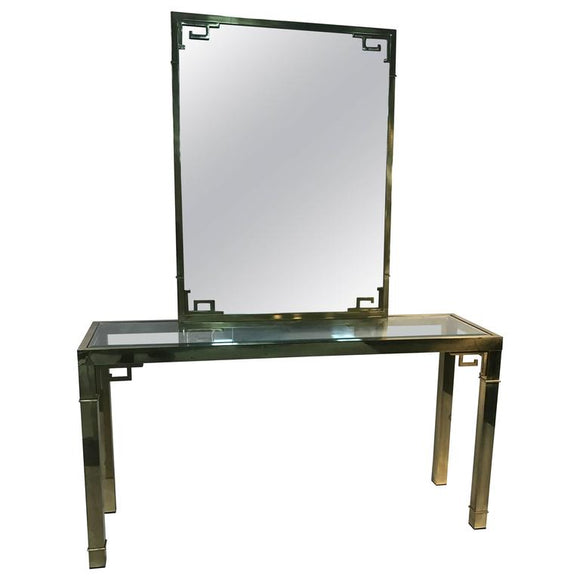 Stunning Solid Brass Italian Mirror and Console Table with Greek Key Design
