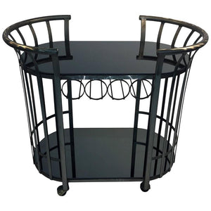 Style of Russell Woodard Flat Band Steel Bar Cart