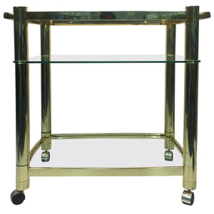 Terrific Three-Tier Brass Tea Cart in the Manner of Milo Baughman