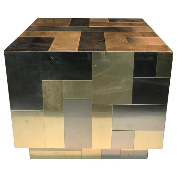 Unusual Cube-Shaped Brass and Chrome Patchwork Table by Paul Evans