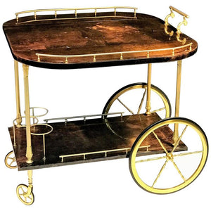 Unusual and Stunning Chocolate Goatskin Bar Cart by Aldo Tura