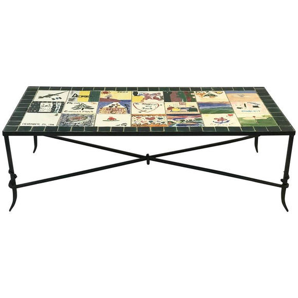 Whimsical Ceramic Tile Top Coffee Table with Hand-Painted Nostalgic Scenes