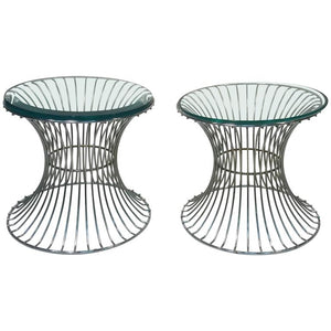 Wonderful Pair of Tables with Trumpeting Wire Bases by Warren Platner for Knoll