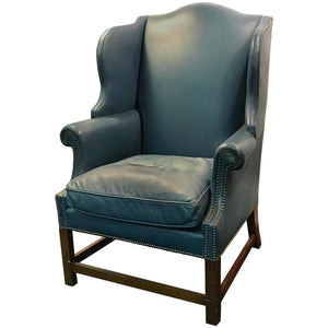Wonderful Wingback Chair with Beautiful Blue Original Leather Upholstery