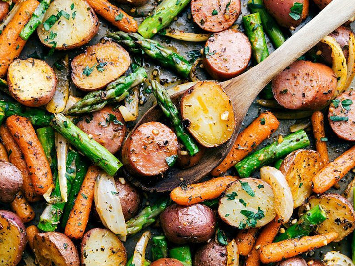 Roasted Garlic Potatoes, Asparagus, & Sausage