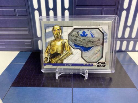 Topps Star Wars Rise of Skywalker Medallion C-3PO Millennium Falcon Silver 2/25