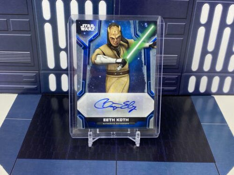 2020 Topps Star Wars Holocron Chris Edgerly as Jedi Eeth Koth Auto Blue /50 A-CE