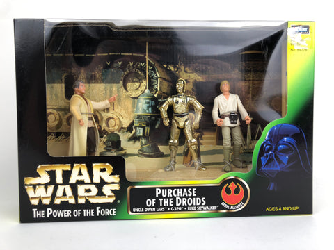 Star Wars Power of the Force Cinema Scenes Purchase of the Droids (C-3P0 - Luke - Owen)