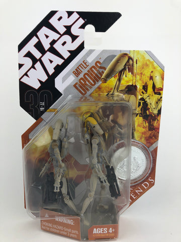 Star Wars 30th Anniversary Saga Legends Battle Droids (Tan and Yellow) - With Silver Coin