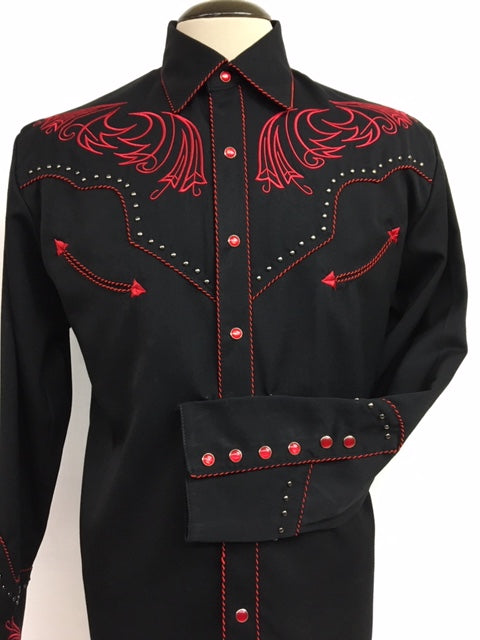 Scully - P-876B Red Embroidery with Studs