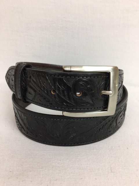 Chacon - 101B Black Hand Tooled Belt