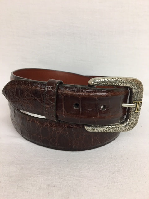 Lucchese Belt - W05286 Brown Caiman Crocodile