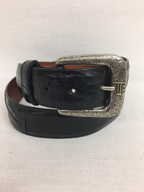 Lucchese Belt - W9401 Black Caiman Crocodile