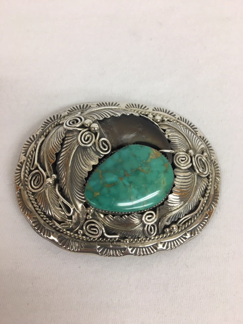 Sterling Silver - Bear Claw & Turquoise Buckle
