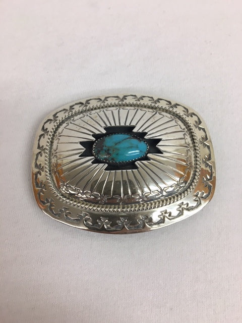 Sterling Silver - Sterling Silver and Turquoise Buckle