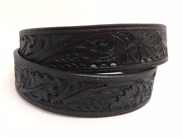 Bootmaster Belt - 7187 Tooled - Chocolate Brown