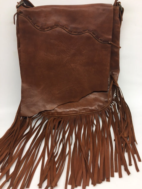 Scully - #B180 Saddle Colour Fringed Bag