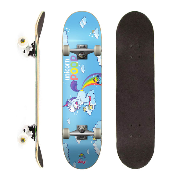 DNG Skateboards Completo Profissional Unicorn Poop Azul