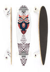 DNG SKATEBOARDS LONGBOARD MAKAHA  TRIBAL OWL BRANCO