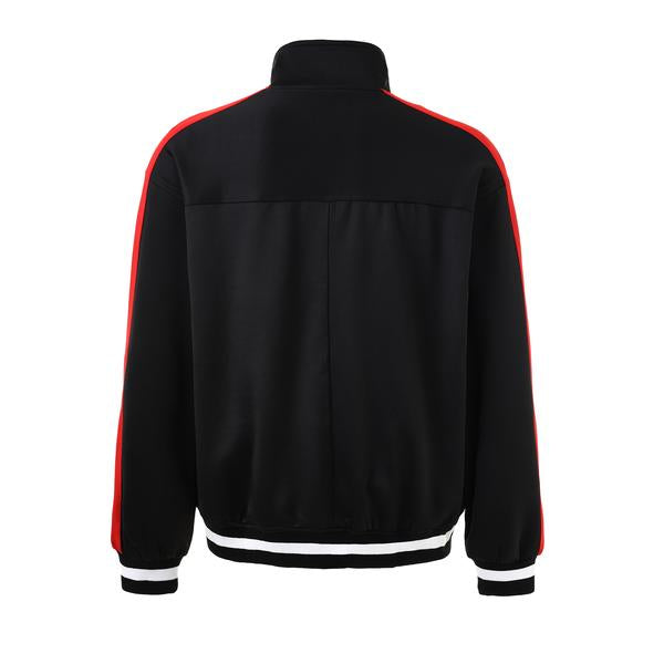 Retro Side Stripe Track Top - Black and Red