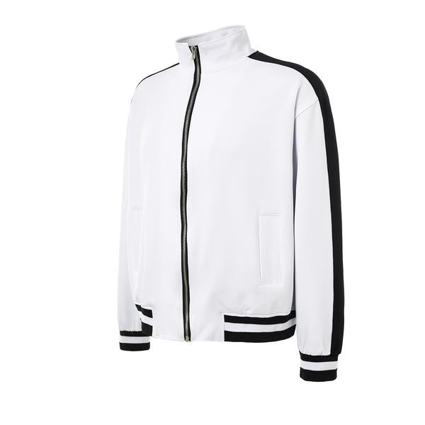 Retro Side Stripe Track Top - White and Black