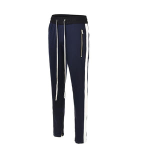 Retro Side Stripe Pants - Blue and White