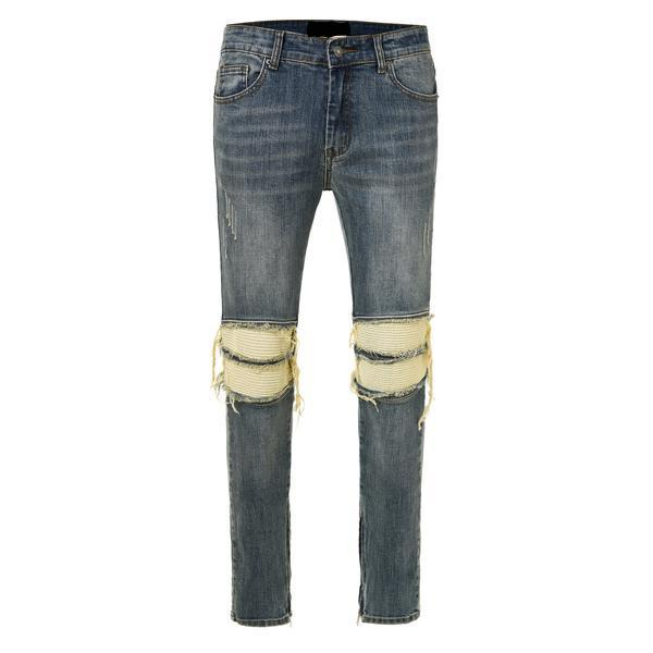 Ripped and Repaired Biker Jeans - Blue