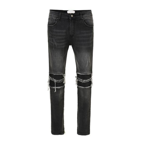 Ripped an Repaired Biker Jeans - Black