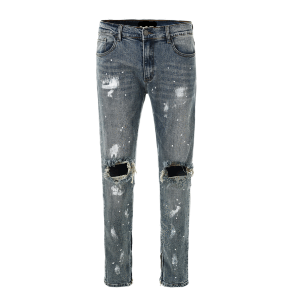 Paint Splatter Distressed Jeans - Blue
