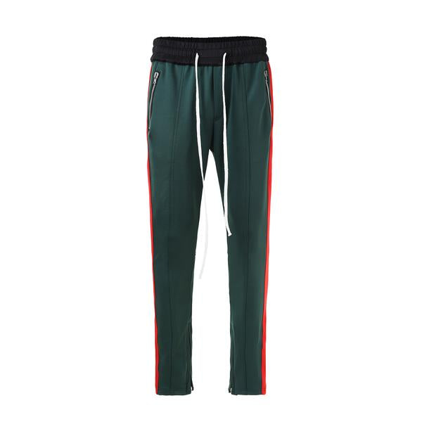 Retro Side Stripe Pants - Green and Red