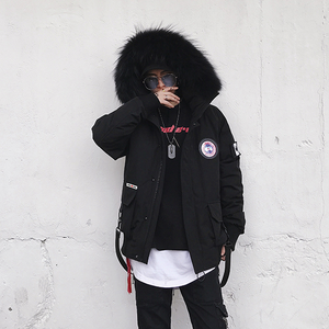 Faux Fur Padded Parka Jacket - Black