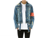 Distressed Arm band Denim Jacket