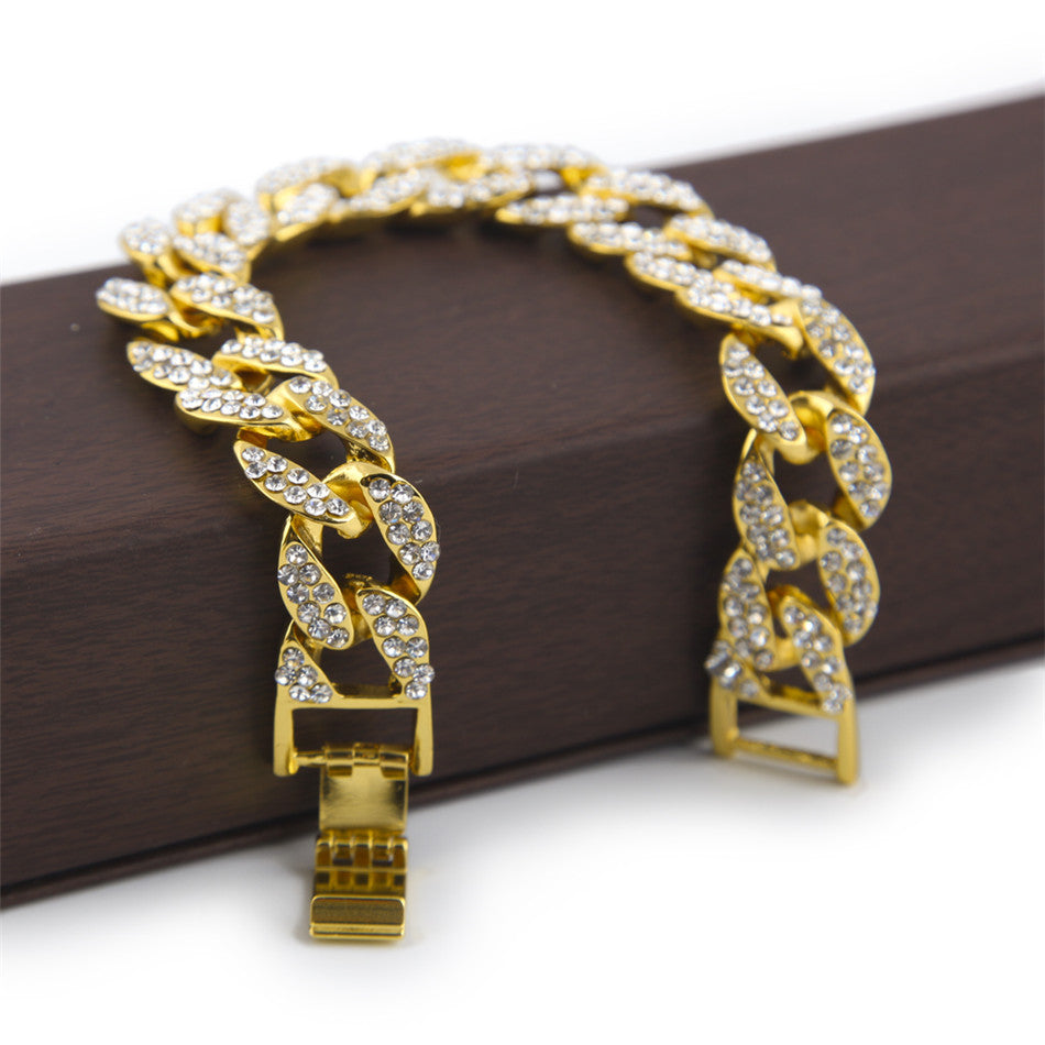 15mm Gold Plated Miami Bracelet