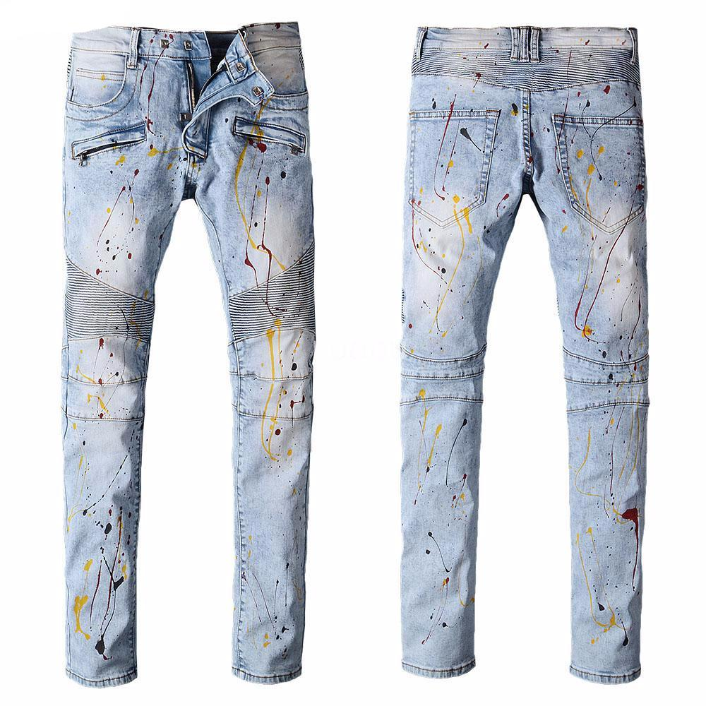 Painted Oiled  Blue Biker Jeans